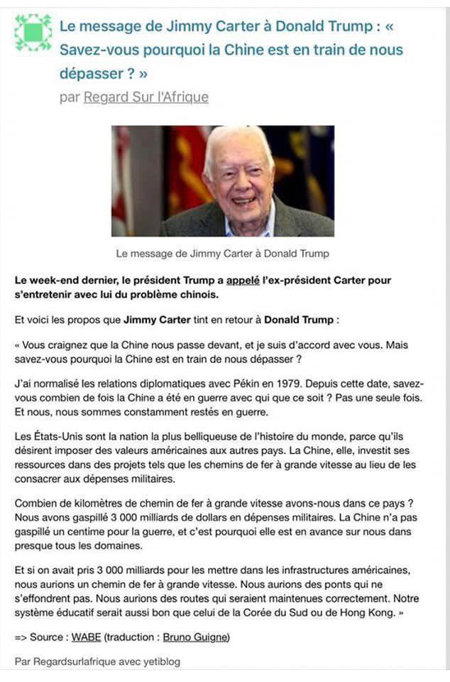 សាររបស់អតីតប្រធានាធិបតីអាមេរិក លោក Jimmy Carter ជូនលោក ដូណាល់ ត្រាំ៖ «តើអ្នកដឹងទេហេតុអ្វី បានជាចិនកំពុងវ៉ាឈ្នះយើង» ?